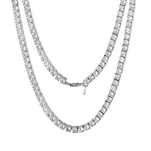 Collar Latón Oro Blanco Eslabones Cajitas Cadena Larga 18 Pulgadas Cristales Brillantes...