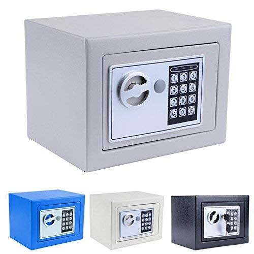 Digital Electronic Safe Security Box Small Wall-Anchoring Safe Deposit Box for Money Jewelry Cash Batteries - US Stock (Black-)