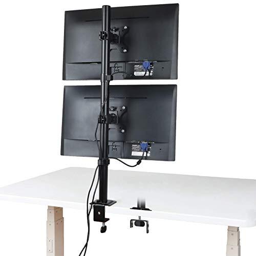 メティヤ モニターアーム 上下2画面 デュアルディスプレイ スタンド 13-32インチ対応 耐荷重8kg(1台)グロメット式&クランプ式 VESA100*100 (ブラック)