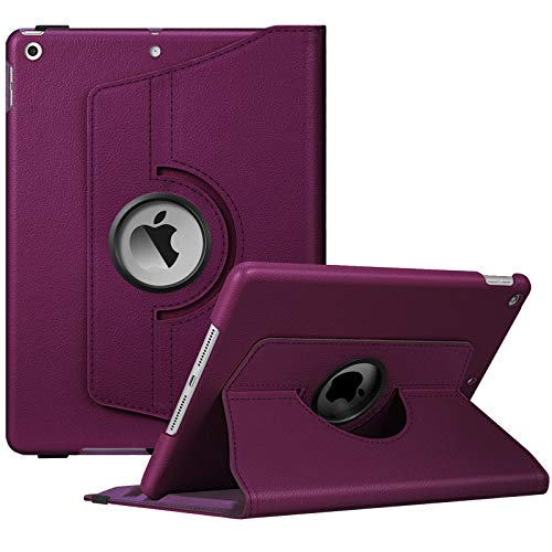 Fintie Rotating Case for iPad 9th Generation (2021) / 8th Generation (2020) / 7th Gen (2019) 10.2 Inch - 360 Degree Rotating Protective Stand Cover with Pencil Holder, Auto Wake Sleep, Purple
