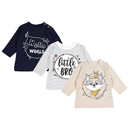 TupTam Blusas de bebé, Manga Larga con Estampado, Paquete de 3 uds, Niño 2, 86