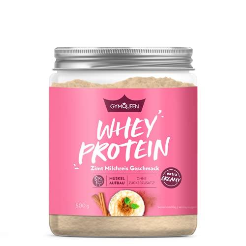 GymQueen Whey Protein-Pulver Zimt-Milchreis 500g, Protein-Shake für die Fitness, Whey-Pulver kann den Muskelaufbau unterstützen, Hochwertiges Eiweiss-Pulver mit 73g Eiweiß, ohne Zuckerzusatz