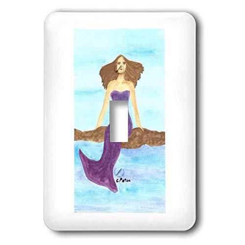 3dRose CherylsArt Mermaid - Watercolor Painting of a Mermaid Sitting on Rocks in the Ocean - single toggle switch (lsp_315613_1)