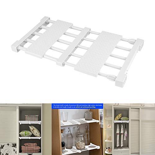 Vvciic Estante de almacenamiento extensible ajustable para armario, separador de armario, divisor de armario, barra organizadora para cocina, baño, dormitorio