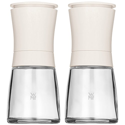 WMF Trend Mühlenset 2tlg, Salz- und Pfeffermühle unbefüllt, Glasbehälter, Keramikmahlwerk, Mühle für Salz, Pfeffer, Gewürze, weiß