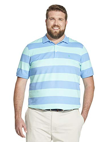 IZOD Men's Big and Tall Advantage Performance Short Sleeve Stripe Polo Shirt, Florida Keys, 2X-Large Tall
