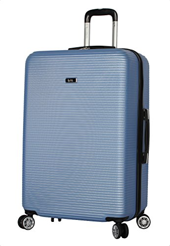 Nicole Miller New York Luggage Collection - 24 Inch (ABS+PC) Hardside Suitcase - Lightweight Designer Checked Bag with 8-Rolling Spinner Wheels (Bernice Blue)