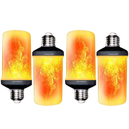ADLOASHLOU Flamme Glühbirne Flammen Lampe Flammeneffekt Glühlampe Schwerkrafsensor 4 Modi Dekorative Atmosphäre für Familie Party Outdoor Halloween Weihnachten (5W E27 Base) Orange-4pcs