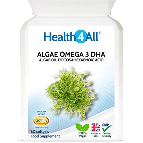 Vegan Omega 3 DHA 500mg Algae Oil Softgels. Vegan Sustainable Algae Oil. 60 Softgels Made by Health4All
