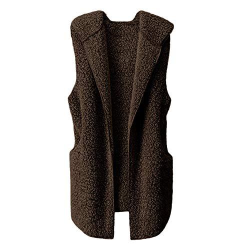 Masrin Damen Plüsch Weste Winter Warme Hoodie Outwear Casual Ärmellose Kleidungsstück Mantel Jacke(S,Braun)