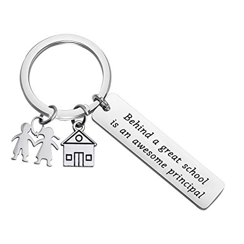 ENSIANTH Principal Gift Behind a Great School is an Principal Keychain Principal Appreciation Gift,Retirement Gift for Principal Teacher (Principal Keychain)