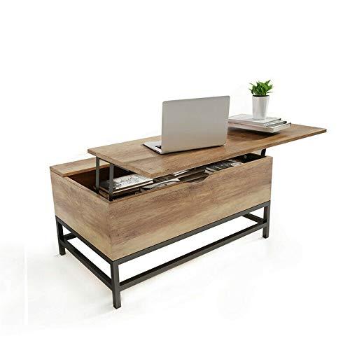 Tavolino Sollevabile Estensibile -Tavolino alzabile da Salotto Funzionale Gran capacità di Contenimento, Moderno, con 2 Scomparti Nascosti Tavolinoda caffè Funzionale Altezza Regolabile SHUANGJUN