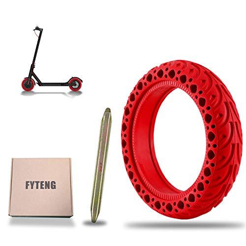 FYTENG Neumáticos sólidos compatibles con el Scooter eléctrico Xiaomi M365/Pro, Ruedas sólidas de Repuesto de 8 1/2, Accesorios para neumáticos M365, diseño de Panal, absorción Impactos (2020 Rojo)