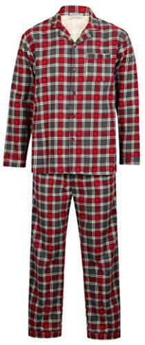 Walker Reid Herren Flanell Baumwolle Rot Karo Langarm-Pyjama mit Kragen und Kragen Mittel