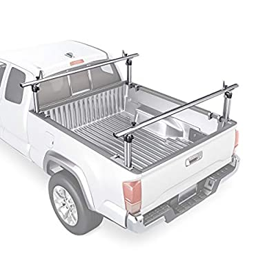 """AA-Racks Model APX2501 75"""" Full-Size Pickup Truck Ladder Racks Low-Profile Height-Adjustable Utility Aluminum Truck Bed Rack with Load Stops"""