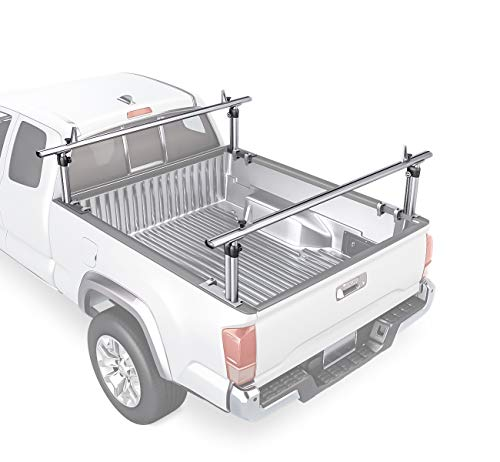 AA-Racks Model APX2501 75' Full-Size Pickup Truck Ladder Racks Low-Profile Height-Adjustable Utility Aluminum Truck Bed Rack with Load Stops-Silver
