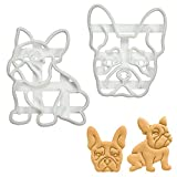 Set of 2 French Bulldog cookie cutters (Designs: Body & Face), 2 pieces - Bakerlogy