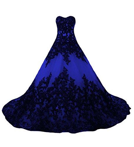 P.L.X Damen A-Linie Appliqued Lange Vintage Brautkleid Spitze Hochzeitskleid Gothic Style