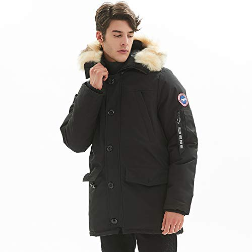 PUREMSX Men's Down Alternative Jacket Insulated Expedition Mountain Thicken Lined Fur Hooded Casual Long Anorak Parka Padded Coat,Black,Large