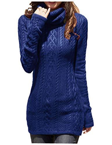 v28 Women Polo Neck Knit Stretchable Elasticity Long Slim Sweater 0-4,Blue