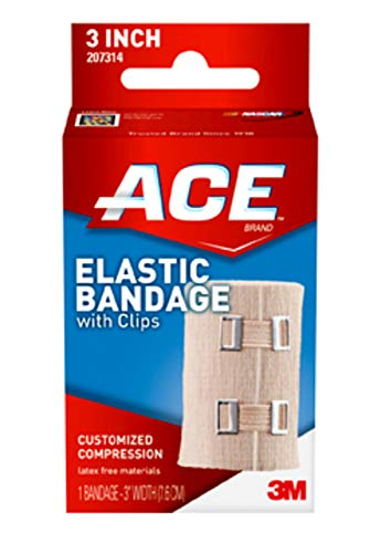 ACE 3 Inch Elastic Bandage with Clips, Beige, Ideal for Sports, Comfortable design with soft feel