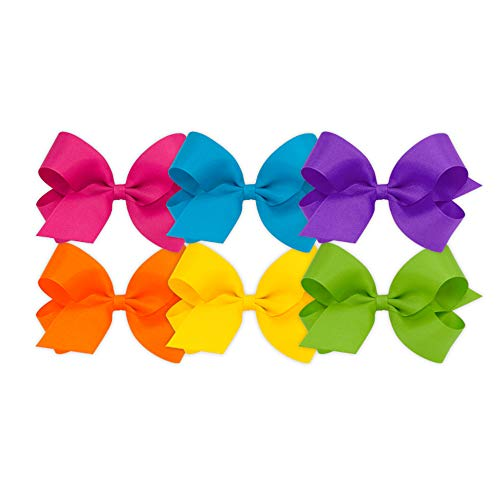 Wee Ones Girls' Large Bow 6 pc Set Solid Grosgrain Variety Pack on a WeeStay Clip - Shocking Pink, Island Blue, Delphinium, Orange, Yellow, Apple Green