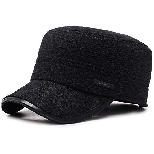 H/A Vintermössa för män äldre äldre far farfar varm medelålders gammal hatt ullmössa öra TOM-EU (Färg: Svart, storlek: Justerbar)