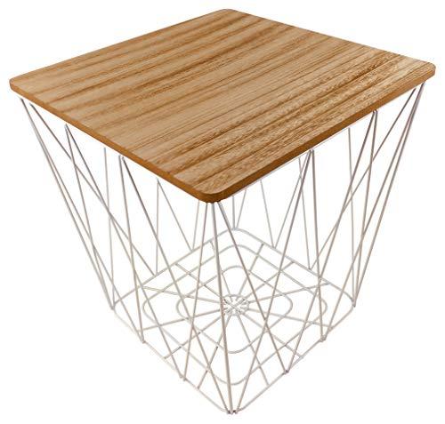 Geometrische witte draad vierkante bijzettafel met houten effect tafelblad