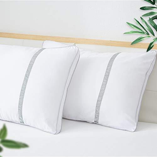 BedStory Cuscini da letto set di 2, Guanciale in Fibra di Alta Qualità, Cuscini per dormire antiacari e ipoallergenici, Guanciali standard X chi dorme su schiena stomaco e sul lato, Lavabile 42x70 cm