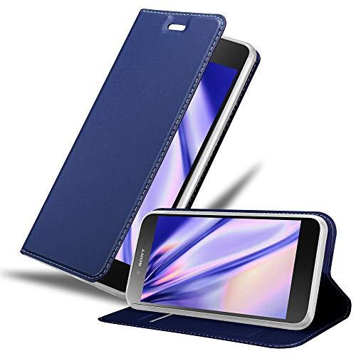 Cadorabo Hülle für Sony Xperia Z5 Premium - Hülle in DUNKEL BLAU – Handyhülle mit Standfunktion & Kartenfach im Metallic Erscheinungsbild - Hülle Cover Schutzhülle Etui Tasche Book Klapp Style