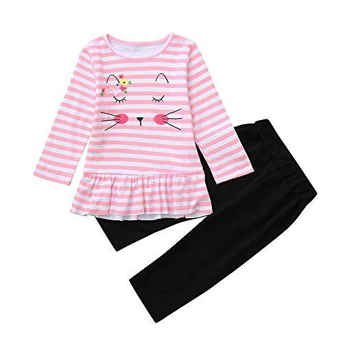 Ensemble de pyjamas bébé nouveau-né filles, Mamum 2 pièces coton manches longues hiver chaud vêtements de nuit pour 0-5 ans enfants (100(18-24 Mois))