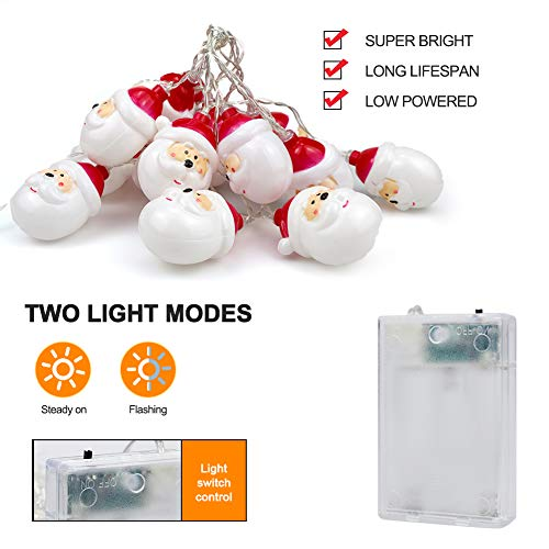 Christmas Santa String Lights, Battery Operated Decorations Lights for Xmas, 10ft Warm White Fairy Lights for Christmas Tree Indoor Outdoor Party Wedding New Year Décor (Santa) 5