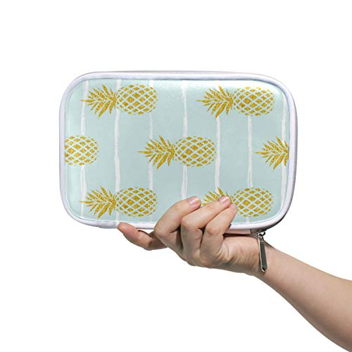 Bardic Pen Pencil Case Golden Pineapple Stripe Pattern Makeup Brush Bag Travel Organizer Cosmetic Pouch Passport Holder for Men Women