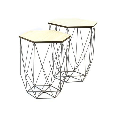 The Home Deco Factory Lotto di 2 tavolini bassi, con struttura a filo, grigio, 40,20 x 40,20 x 45,50 cm