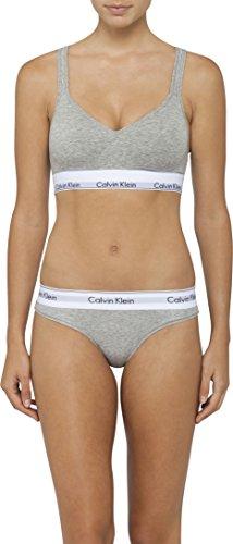 Calvin Klein womens Modern Cotton Lightly Lined Bralette Grey Large