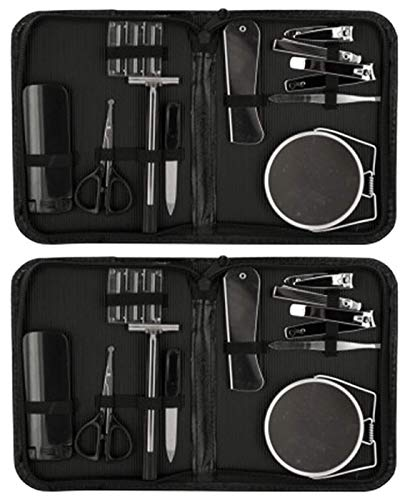 2 Pack Best Men's Gift Idea 2020 Luxury 12 Piece Manicure Personal Manscaping Grooming Set with Mirror Kit for Him Guy Man