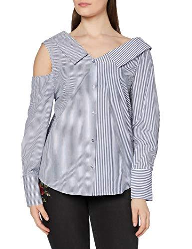 Marca Amazon - find. Camisa Asimétrica Oversize de Rayas para Mujer, Multicolor (Blue/white Stripe), 40, Label: M