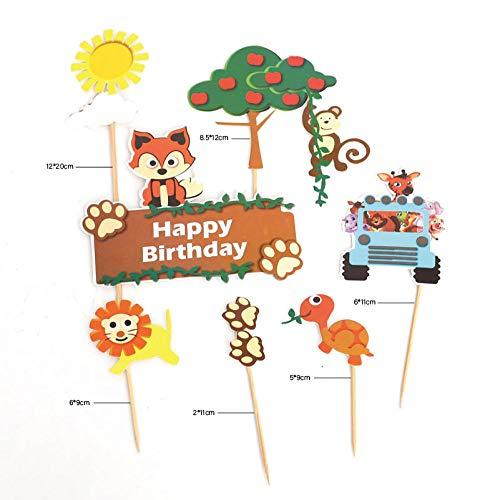 7pcs Cartoon Cake Decoration Animals Fox Lion Monkey Cake Toppers Appletree Cupcake Decor Happy Birthday Cake Toppers Supplies-B
