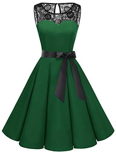 bbonlinedress 1950er Ärmellos Vintage Retro Spitzenkleid Rundhals Abendkleid Dark Green XS