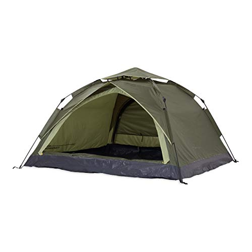 Lumaland Where Tomorrow 3 Persons Pop Up Camping Tent, Double Entrance– Ultralight, Waterproof, Robust Tent ideal for Hiking, Backpacking, Festivals - 210x190x110 cm - Green