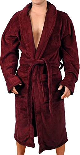 Wanted Men's Soft Bathrobe Plush Micro Fleece Spa Robe with Two Front...