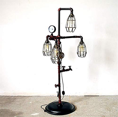 Stehlampe Industrielle Retro Steampunk Wasserhahn Manometer und Wasserzähler Design E27 4 Köpfe Vogelkäfig Schatten Tun Sie das Alte Schmiedeeisen Wasserpfeife Stehlampe 1,39 Mt Mit Dimmschalter
