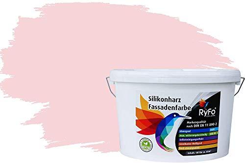 RyFo Colors Silikonharz Fassadenfarbe Lotuseffekt Trend Pastellrosa 10l - bunte Fassadenfarbe, weitere Violett Farbtöne und Größen erhältlich, Deckkraft Klasse 1