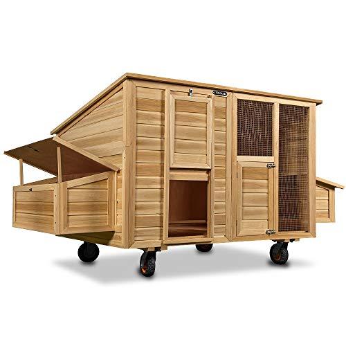 Poulailler mobile 220x125x118 bois avec roues pondoir...