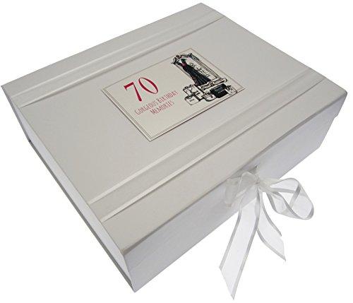 White Cotton Cards Boîte Souvenir Grand 70e Anniversaire Robe de soirée