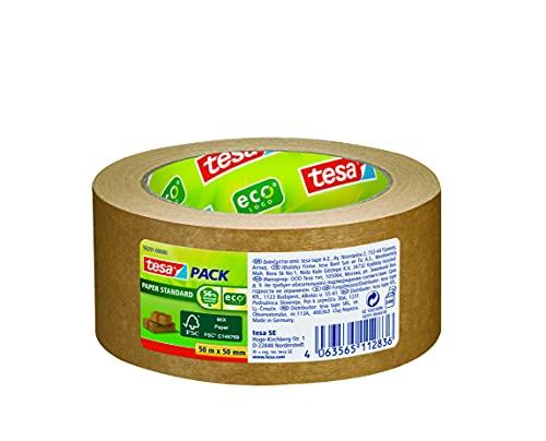 tesapack® Paper Standard - Cinta de Embalaje Hecha de Papel Ecológico - 56% de Material Biológico - Eficiente y Reciclable - 50 m x 50 mm - Marrón