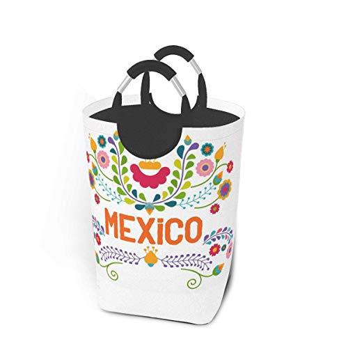 Liumt Ellements Florales Mexicanos México Cesto de Ropa Grande Cola de Pescado de mar Cesto de Ropa con Asas Cesto de Ropa Cestas sucias Almacenamiento