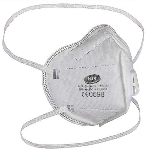 ALPIDEX Maske FFP3 Filterleistung 99% CE Zertifiziert Faltbar Einzeln Verpackt FFP 3 Mundschutz, Menge:10 Stück, Modell:FFP 3 mit Ventil