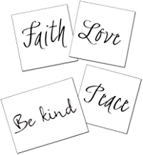 Quote Temporary Tattoos - Peace, Be Kind, Love, Faith Inspirational Words Tattoo Set of 8 - Great Gift - Script - Quote Tattoo Accessory - Semi-Permanent Tattoo - 50% Bulk Discount