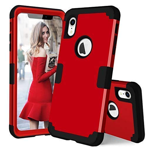 ANHONG iPhone XR Protective Case,Shockproof 3 Layer Soft Silicone Defender Heavy Duty Phone Cover Compatible iPhone XR(2018) (Red and Black)